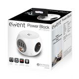 Power block 3 USB charging ports, 3 Outlets, white_